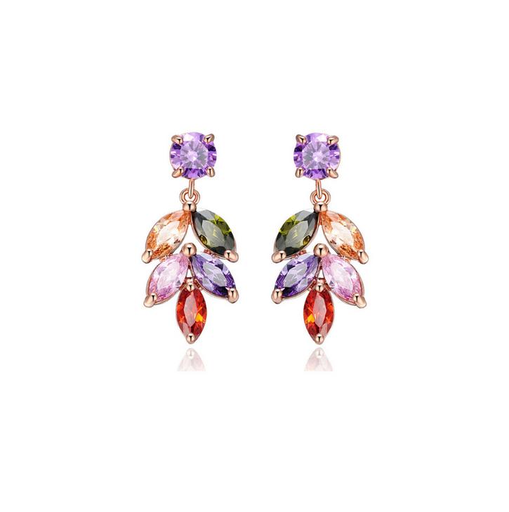Rose Gold & Jewel Tone Cubic Zirconia Leaf Drop Earrings
