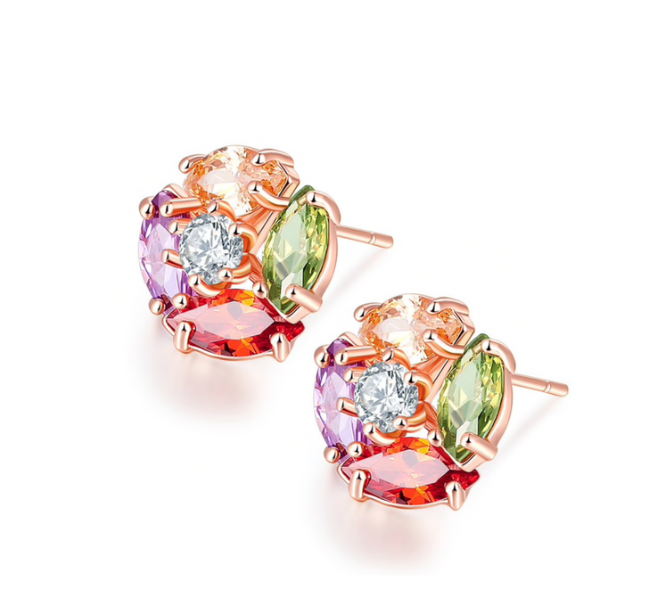 Rose Gold & Multi Colored Cubic Zirconia Circular Stud Earrings