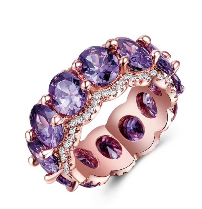 Rose Gold & Purple Cubic Zirconia Statement Ring