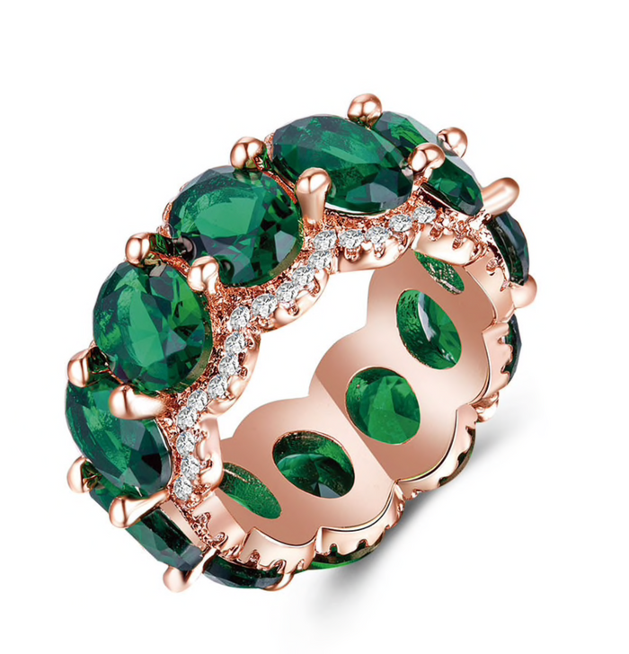 Rose Gold & Emerald Cubic Zirconia Statement Ring