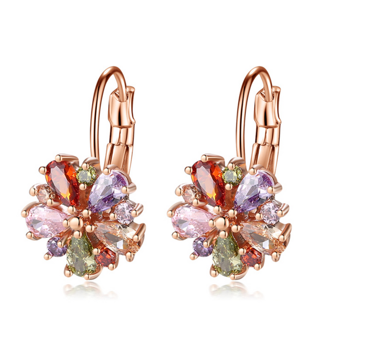 Rose Gold & Jewel Toned Cubic Zirconia Floral Leverback Earrings