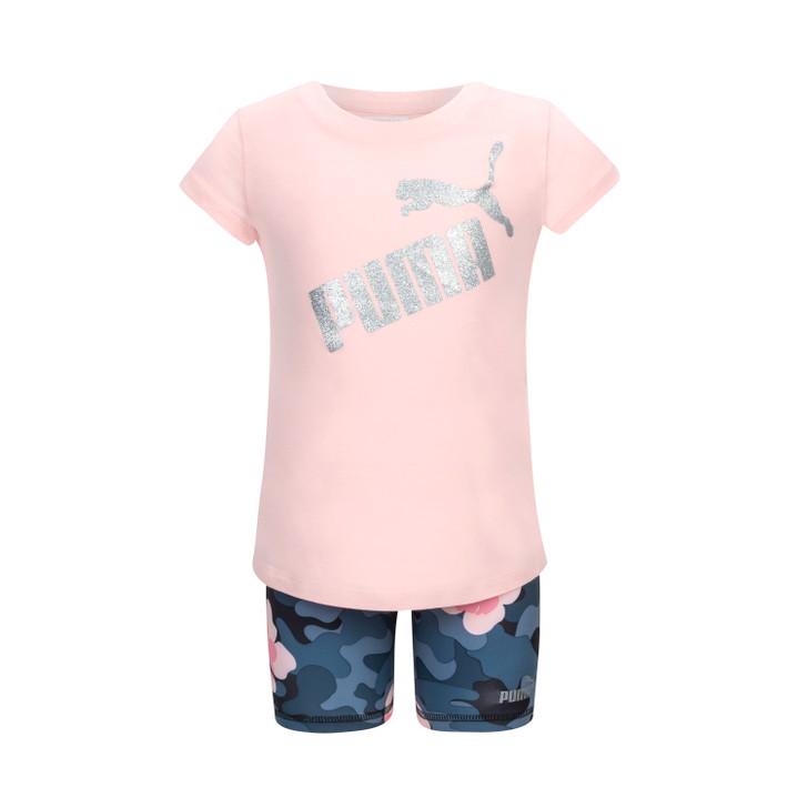 Puma Infant Girl's Short Sleeve and Biker Short Set - Crystal Rose