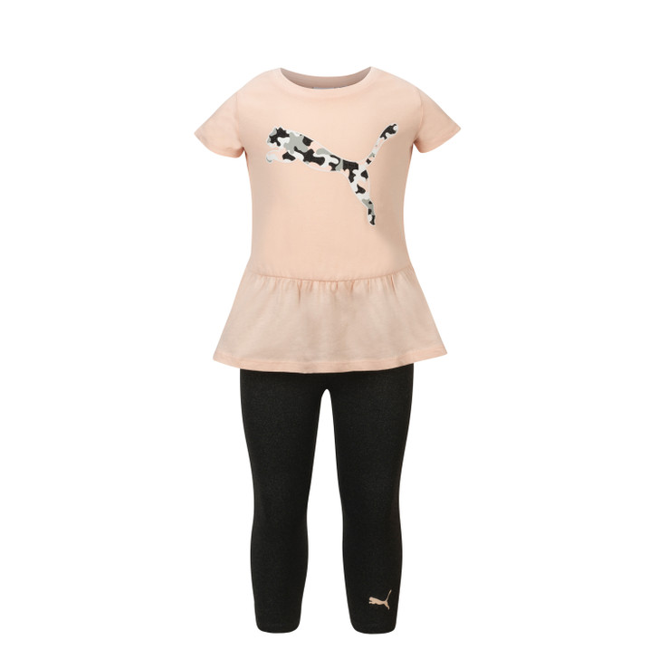 Puma Girls Two Piece Short Sleeve Jersey Tee & Capri Legging Set - Peach & Black