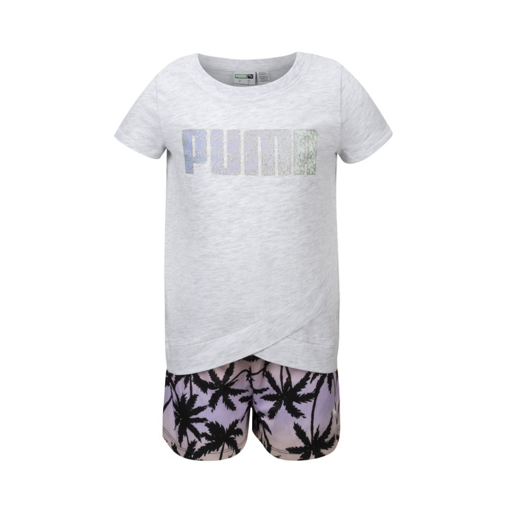 Puma Girls Two Piece Short Sleeve Jersey Tee & Mesh Short Set