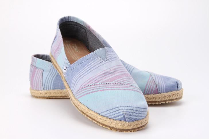 Toms Classic Ladies Summer Stripe Blue Slip On