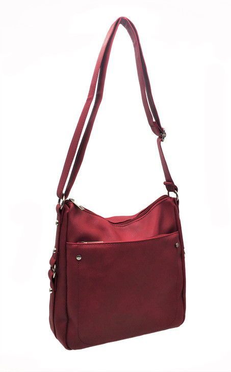 Top Zip Crossbody with Front Pocket with Adjustable Strap