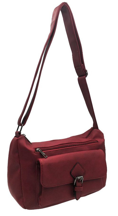 Top zip Crossbody with front pocket and buckle closure