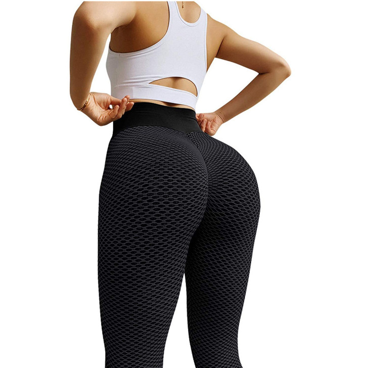 Ladies High Waisted Compression Leggings with Ruched Butt Detail - Black
