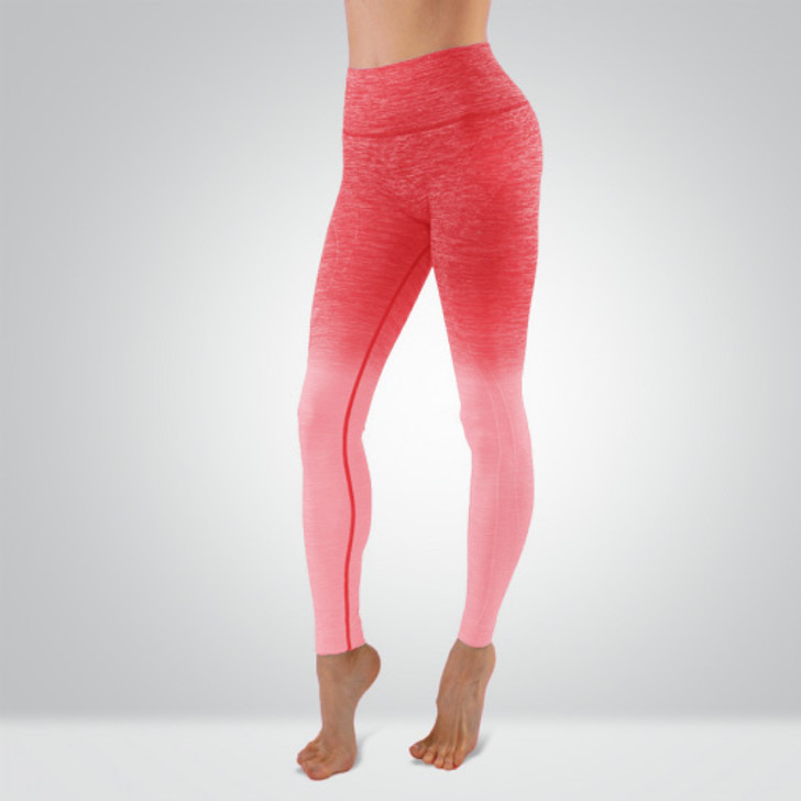 Ladies High Waisted Compression Leggings with Ruched Butt Detail - Coral Ombre