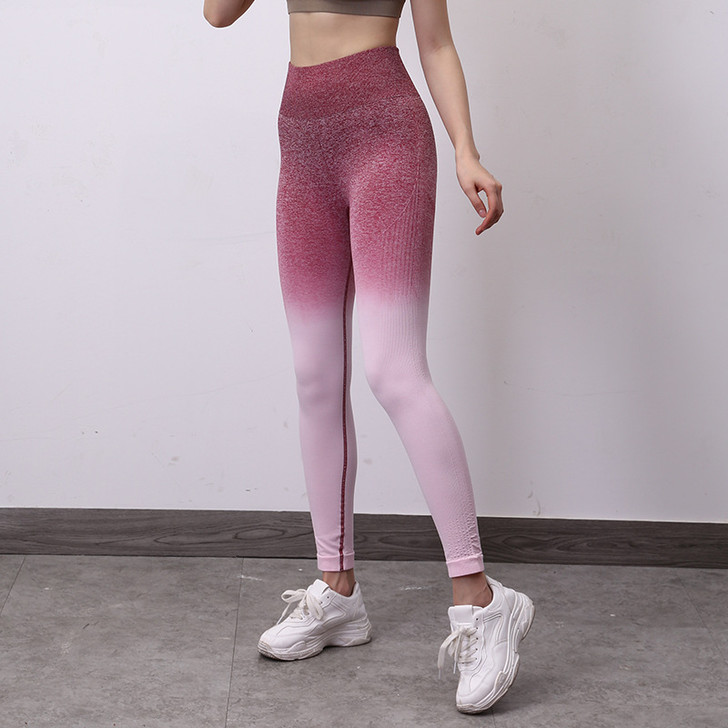 Ladies High Waisted Compression Leggings with Ruched Butt Detail - Red Ombre