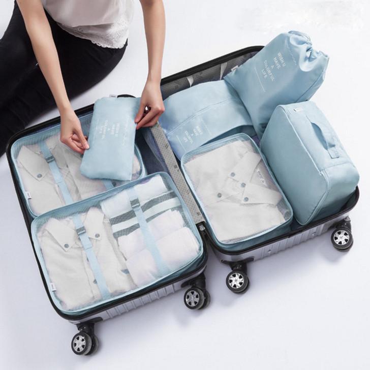 7 Piece Packing Cubes - Light Blue