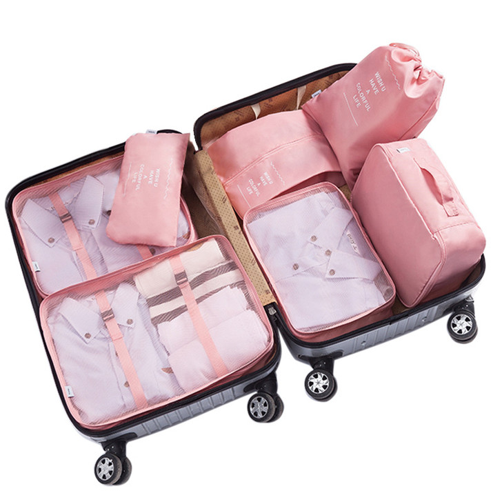 7 Piece Packing Cubes - Pink