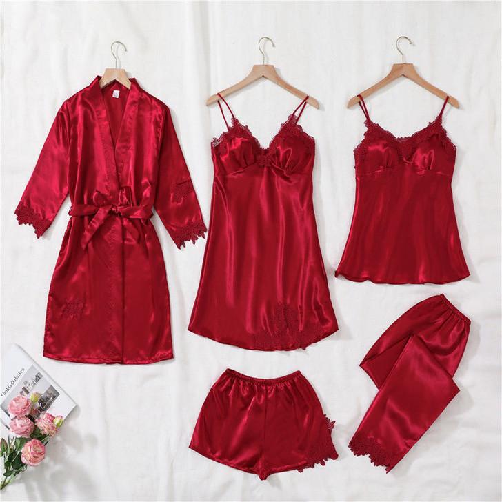 Ladies 5 Piece Satin Pyjama Set - Red