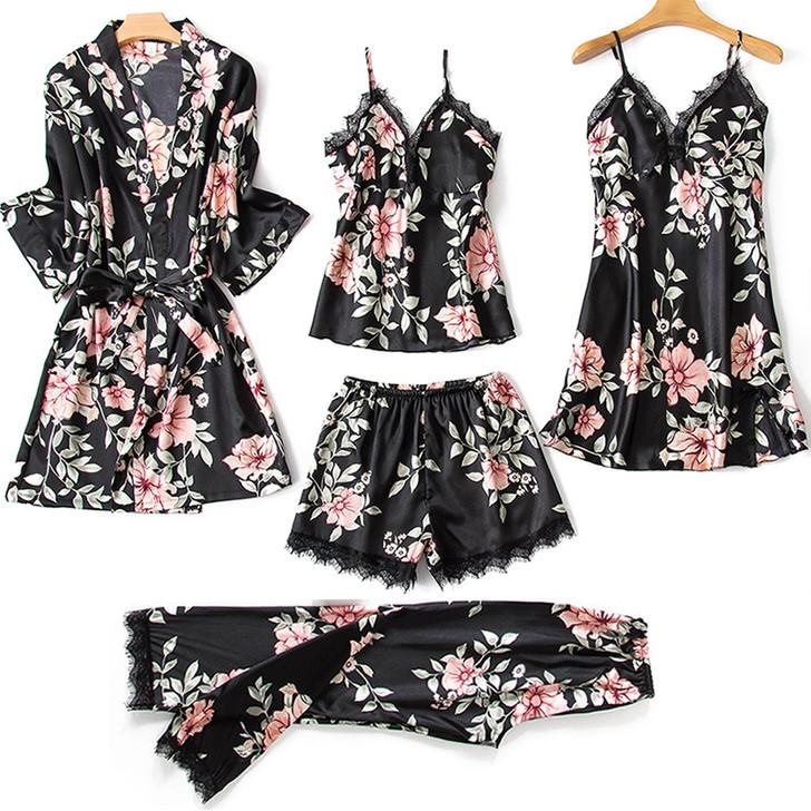 Ladies 5 Piece Pyjama Set - Black Floral
