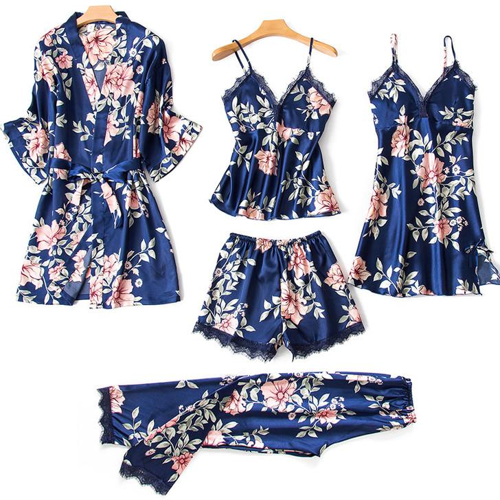Ladies 5 Piece Satin Pyjama Set - Navy Floral
