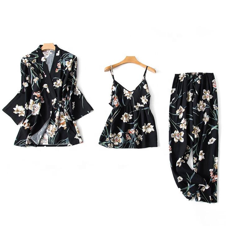 Ladies 3 Piece Pyjama Set - Black Floral