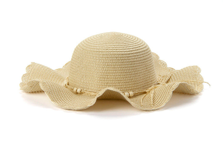 Floppy Summer hat with beads - beige