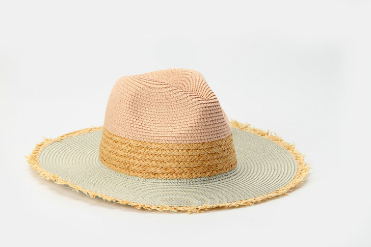 Two Tone Panama Hat with frayed edge - pink combo