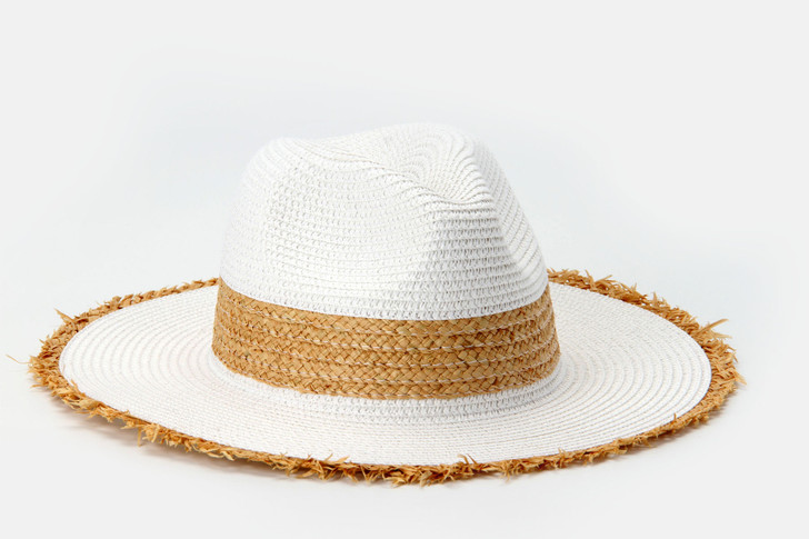 Two Tone Panama Hat with frayed edge - white combo