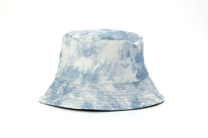 Cotton Bucket Hat - reversible blue tie dye