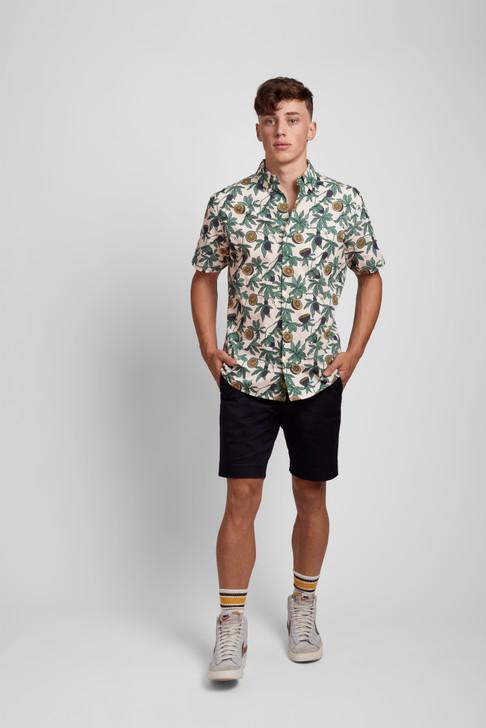 Poplin & Co Men's Short Sleeve Printed Button Down Shirt - Passion Fruit