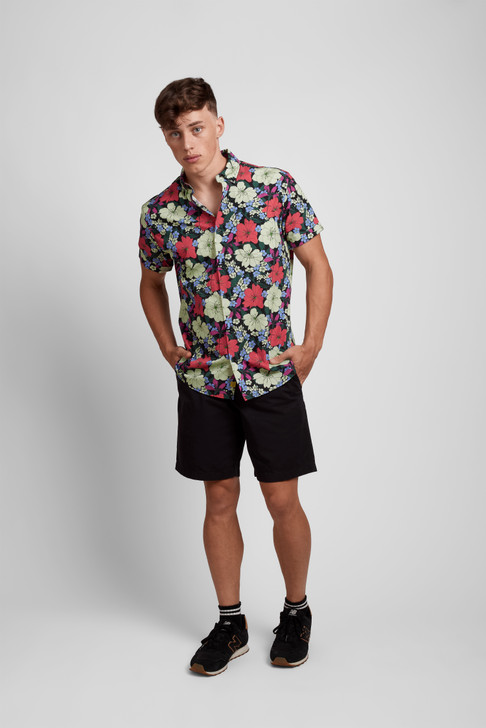 Poplin & Co Men's Short Sleeve Printed Button Down Shirt - Tropical Floral