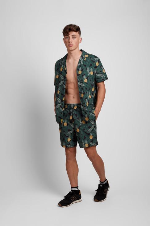 Poplin & Co Men's Short Sleeve Printed Camp Collar Shirt - Banana Pineapple