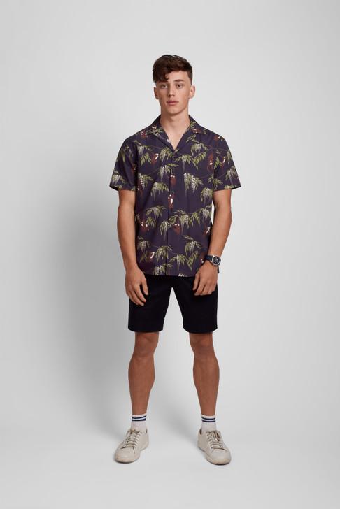 Poplin & Co Men's Short Sleeve Printed Camp Collar Shirt - Monkey Trouble