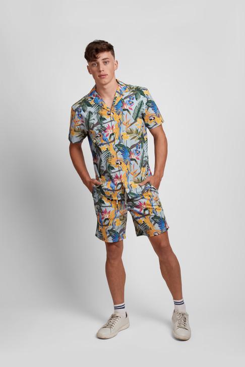 Poplin & Co Men's Short Sleeve Printed Camp Collar Shirt - Parrot Paradise