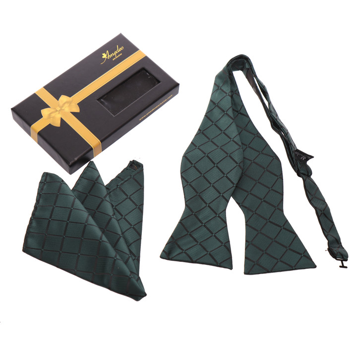 Amedeo Self Bow Tie and Handkerchief Set With Gift Box -Green Checkers