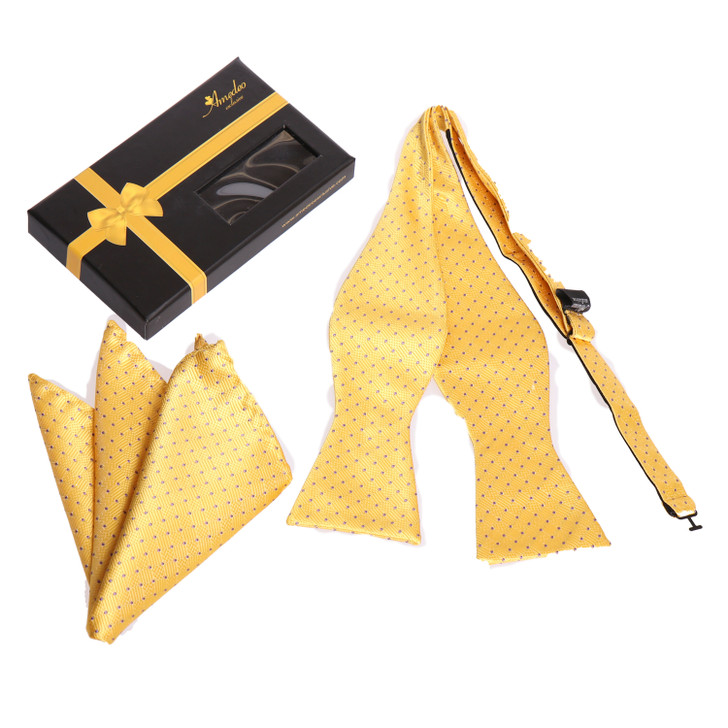 Amedeo Self Bow Tie and Handkerchief Set With Gift Box -Yellow / Gold