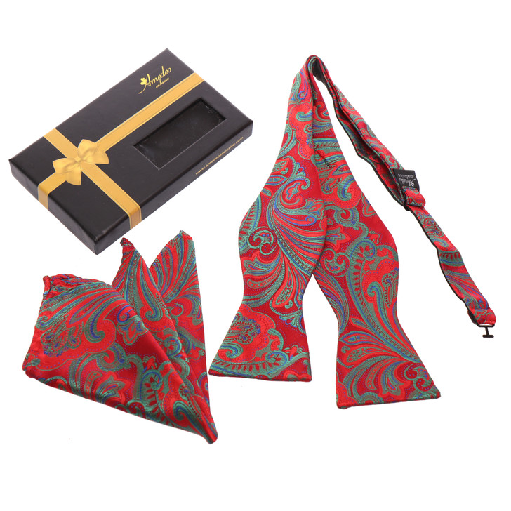 Amedeo Self Bow Tie and Handkerchief Set With Gift Box -Multi Red And Green