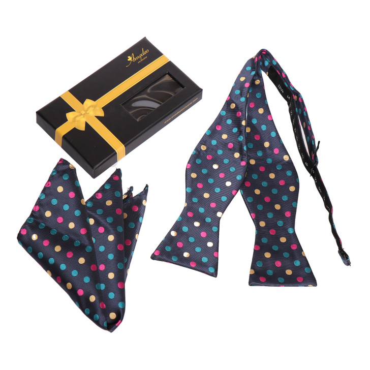Amedeo Self Bow Tie and Handkerchief Set With Gift Box -Multi Colors Polka Dot
