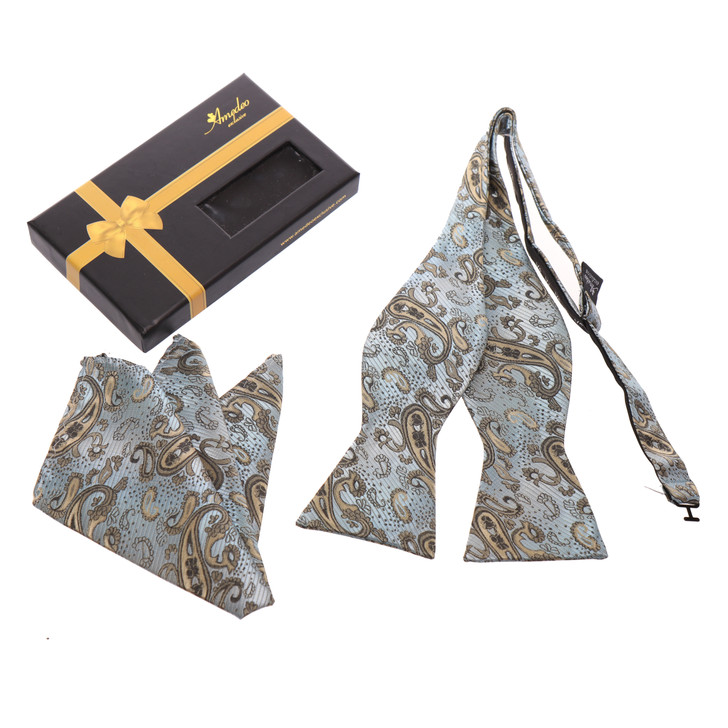 Amedeo Self Bow Tie and Handkerchief Set With Gift Box -Light Blue And Gold