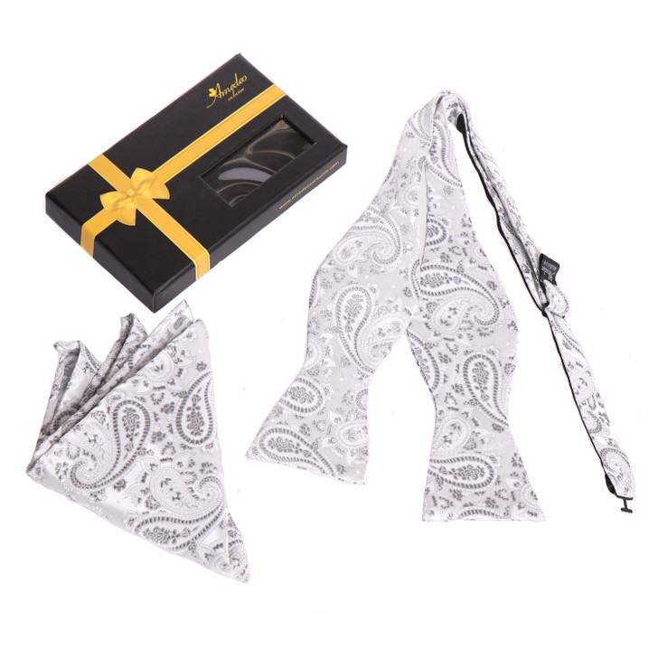 Amedeo Self Bow Tie and Handkerchief Set With Gift Box -White And Grey