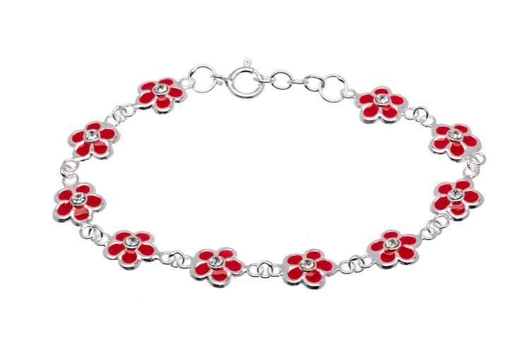 Sterling Silver Red & CZ Flower Children's Bracelet