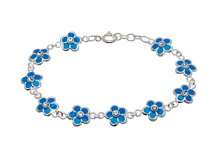 Sterling Silver Blue & CZ Flower Children's Bracelet