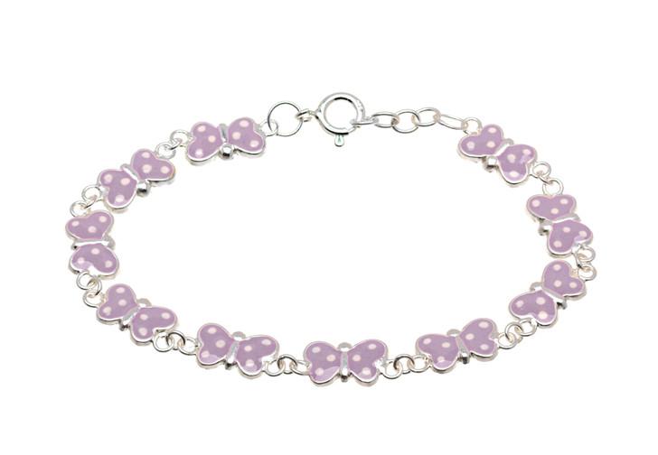 Sterling Silver Light Purple Butterfly Children's Bracelet