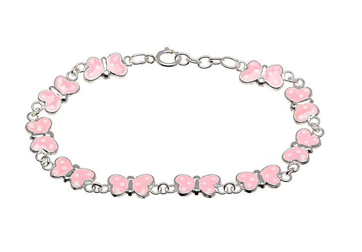 Sterling Silver Light Pink Butterfly Children's Bracelet