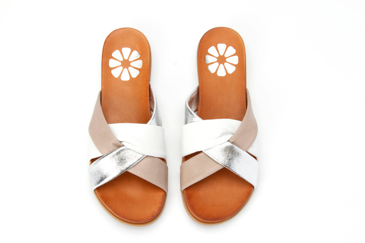 Orenge Leather Slide with Contrast Straps in taupe combo