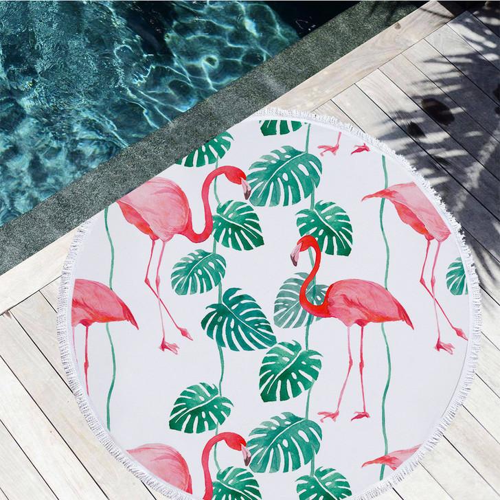 Round Beach/Pool Towel With Fringe Trim - Flamingo