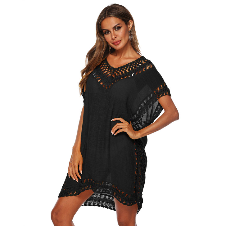 Ladies Lace Insert Short Sleeve Cover Up - Black