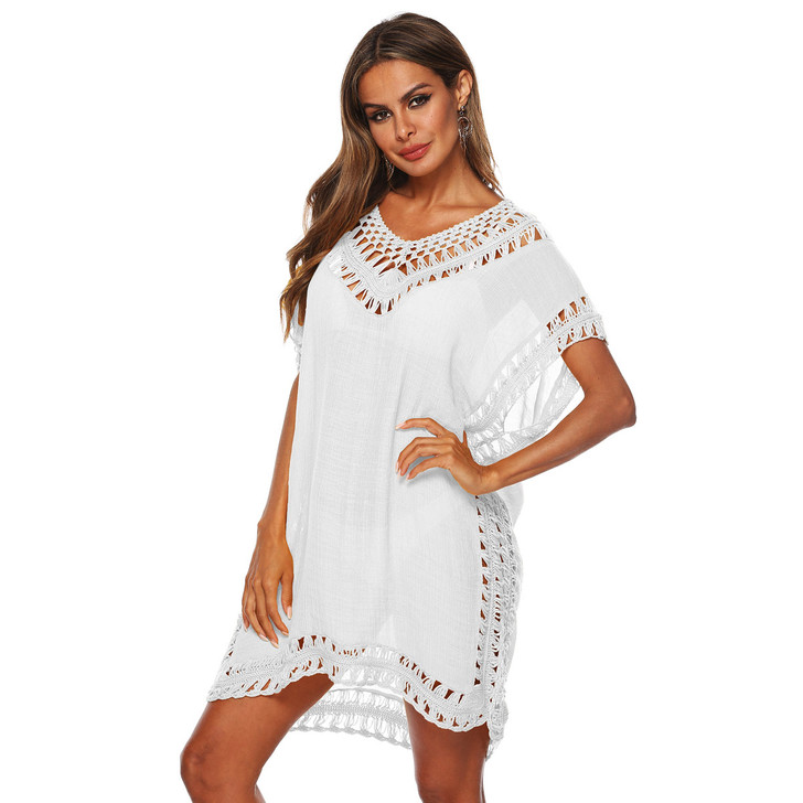 Ladies Lace Insert Short Sleeve Cover Up - White