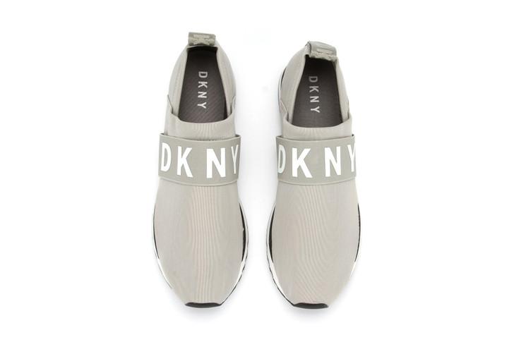 Ladies DKNY Slip On Sneaker With Logo Strap - Grey