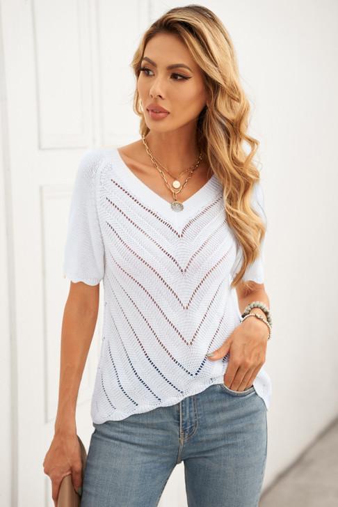 V Neck knitted Short Sleeve Top - White