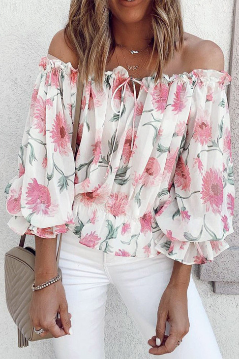 Dahlia Off The Shoulder Crop Top - White & Pink Floral
