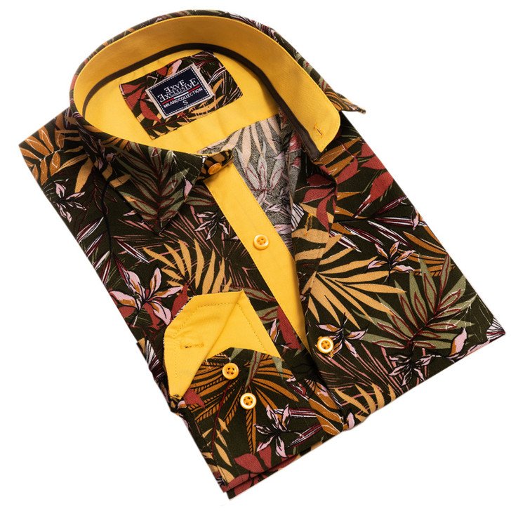 Amedeo Reversible Long Sleeve Shirt-AEBD2868-Black Red Yellow Multi-Color Leaves