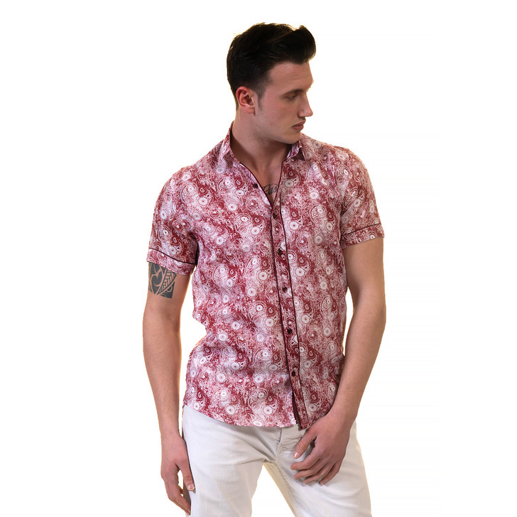 Amedeo Reversible Short Sleeve Shirt-AESS7597-Red & White Faded Paisley