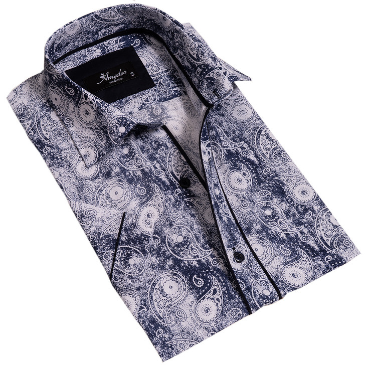 Amedeo Reversible Short Sleeve Shirt-AESS7598-Blue & White Faded Paisley
