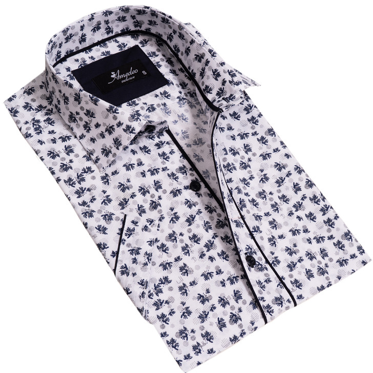 Amedeo Reversible Short Sleeve Shirt-AESS7599-White with Blue Grey Floral